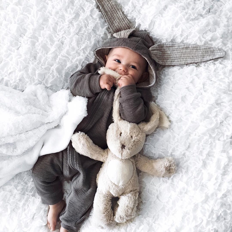 685f8966b2dc Newborn Infant Baby clothing Girl Boy 3D Ear gray rabbit Romper Jumpsuit  Outfits cosplay halloween Costume - The Best Baby Care Products