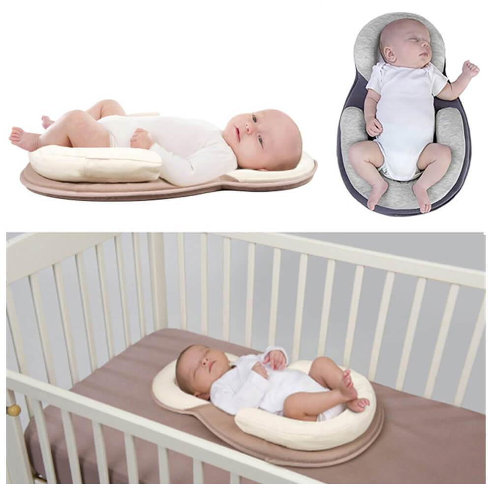 Blue Portable U Shape Anti Rollover Baby Bed Mattress and Baby Pillow Value Pack for Newborn Baby Infant Flat Head Syndrome Prevention Adjustable Size Crib Mattress Baby Shower Gift
